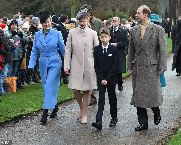 Edward and wife Sophie (pictured on Christmas Day with their children Lady Louise Windsor and James Viscount Severn in 2018) now focus on their royal duties which involves a variety of patronages, and the couple have set up the Earl and Countess of Wessex Trust, which has a focus on young people