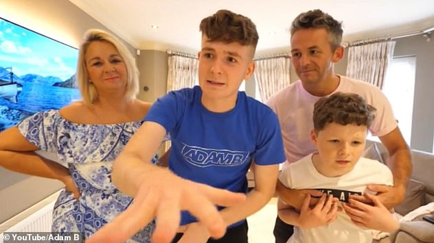 Joined by his family in a £165,000 house he recently purchased for them, Adam B shared the news with his 2.9million subscribers on Tuesday evening