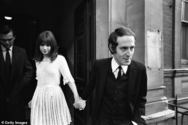 Heartache: Sixties icon Jane Birkin revealed during her first marriage she slept with an eyeliner under her pillow so she could apply it if her husband woke and he wouldn't think she had 'tiny, piggy eyes' (pictured aged 18 at her wedding to John Barry)