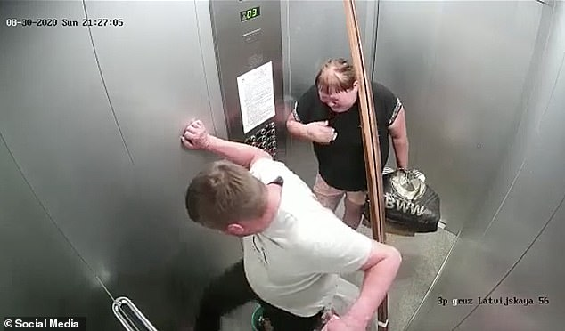 Second attack: After the lift door closed, the man stamped on the dog despite the woman being obviously upset