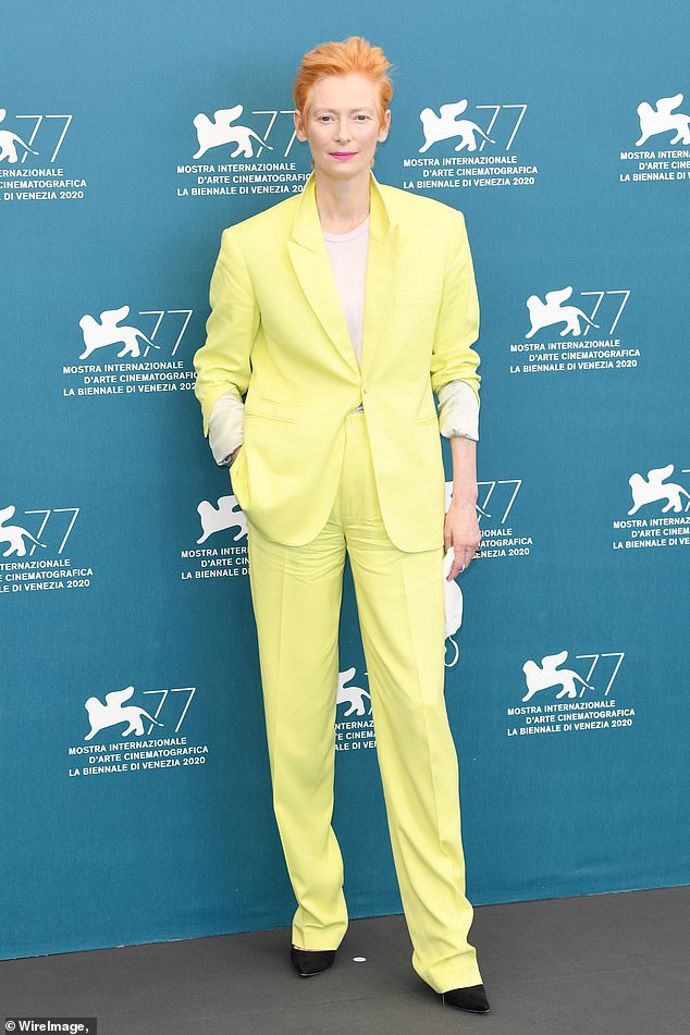 Chic:Tilda Swinton continued her triumphant trip to the 2020 Venice International Film Festival on Thursday, with a photocall for her new film The Human Voice