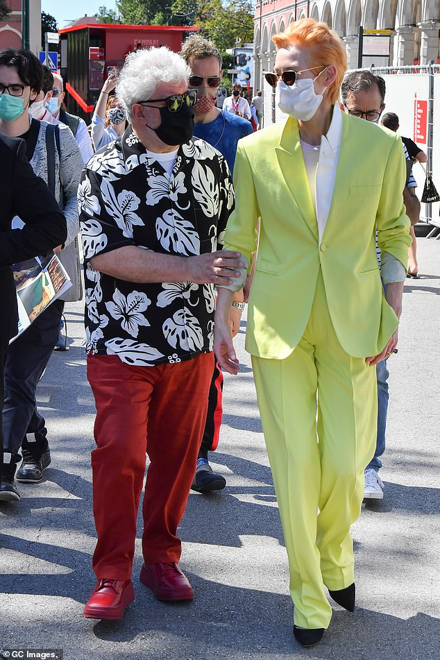 Making movies:Tilda was joined at the photocall by The Human Voice writer and director Pedro Almodóvar, with the two collaborators arriving arm in arm for the event