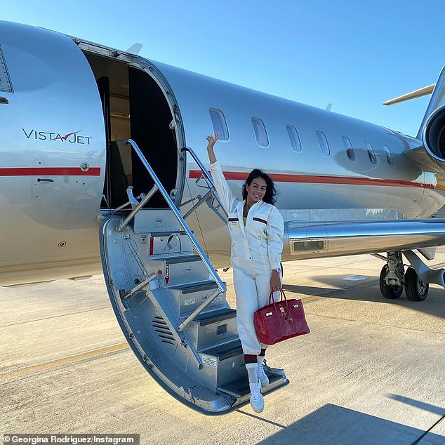 I'm here! The star revealed she had jetted into the Italian city earlier on Thursday by sharing a snap of herself posing in front of a private jet