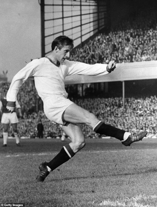 Viollet is the grandson of late Manchester United 'Busby Babe' Denis Viollet (pictured playing for Stoke City in 1961)