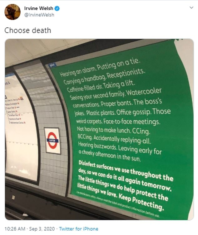 Many social media users pointed out the similarities to the opening monologue in Trainspotting, and the book's author Irvine Welsh himself tweeted: 'Choose death'