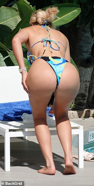 Patterned: The bikini was adorned with different shapes