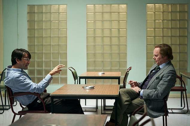 All star cast:The new photos from episode one show David as Nilsen talking to Brian Masters, played by Jason Watkins, who conducted a number of interviews with the killer