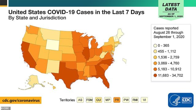 The CDC warned on Tuesday that daily infections were starting to rise in some states, particularly in the upper Great Plains, Midwest and South. The agency warned Americans to wear masks and continue to social distance