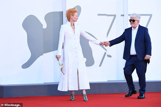 Filmmaker:Tilda was joined on the red carpet by The Human Voice director Pedro Almodovar