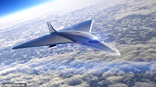 Virgin Galactic recently revealed its design of a sleek airplane capable of shuttling nine to 19 passengers while traveling at speeds of Mach 3 - three times faster than the speed of sound