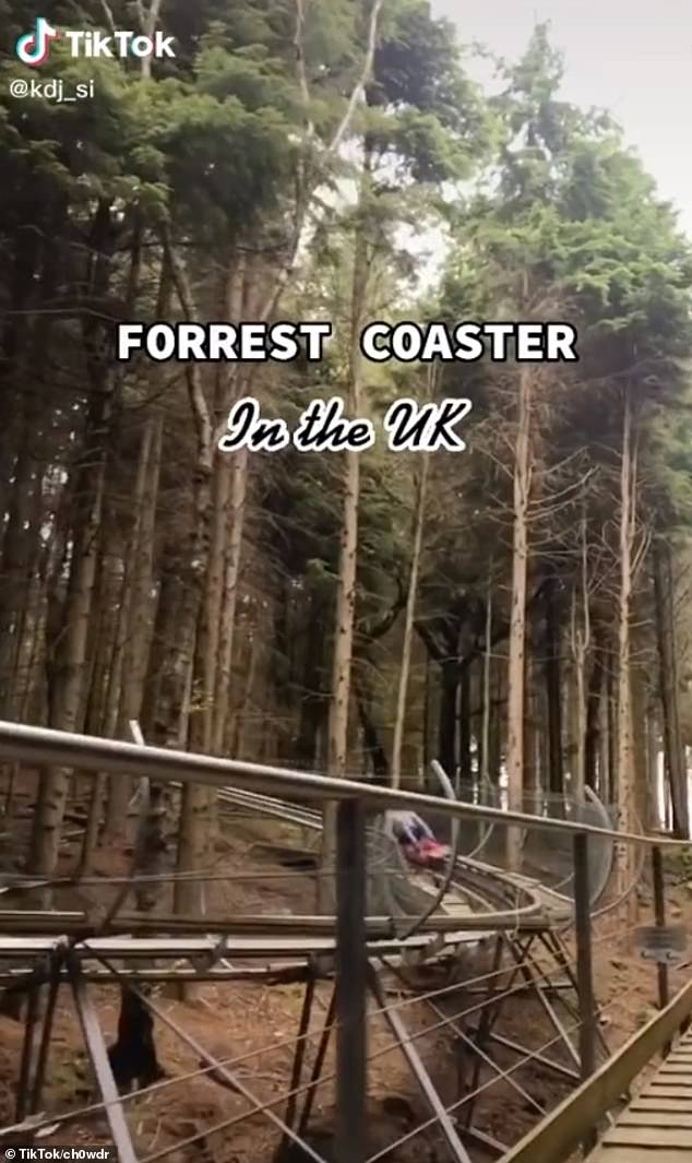 Meanwhile in another clip which has gone viral on the social media site, a user encouraged others to explore a treetop roller coaster in North Wales
