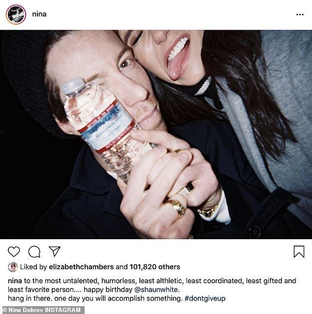 Sweet and sarcastic: Nina Dobrev joked Olympian boyfriend Shaun White was the 'the most untalented, humorless, least althletic [sic] , least coordinated, least gifted and [her] least favorite person' in a birthday tribute celebrating his 34th year