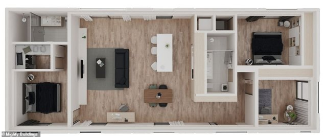 Floor plan of the most expensive unit on offer. It features a combined kitchen and living area and three bedrooms, one with an en-suite