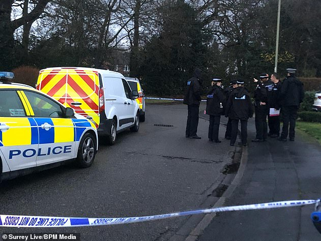 By the time police arrived at the scene, Mrs Tarver's severed head had been placed in the freezer and her left ring finger sliced off and put in the kettle by her son, the court heard. Pictured: Police cordon off an area near to the house