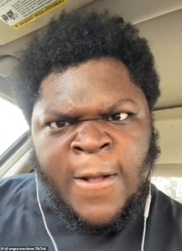 Revelation: Oneya Johnson, 22, has revealed that he has been living in his car in Lafayette, Indiana, for the past few months while filming his viral 'angry reaction' TikTok videos