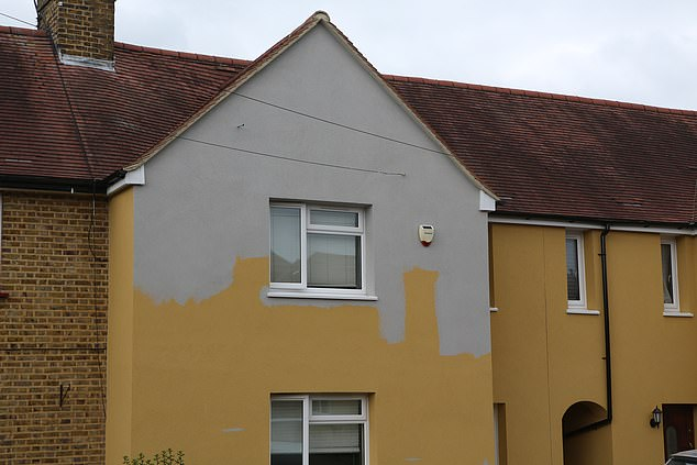 The widow, who has lived in her home on the estate for 28 years, tried to paint over the 'baby poo' yellow with a more neutral grey ahead of a family wedding, was the council instantly demanded that she stopped, and slapped her with a £1,600 fine for 'damages'