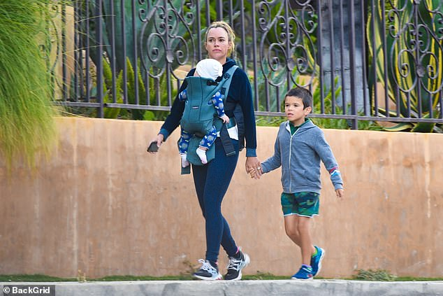 Keeping a low profile: Teddi Mellencamp was also seen out this week as she went for a walk with her baby Dove and son Cruz