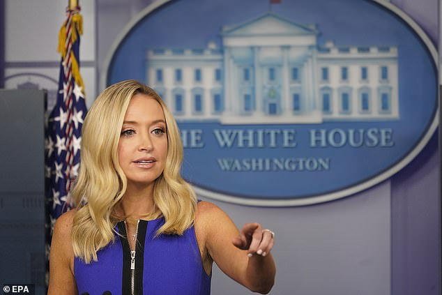 White HousePress secretary Kayleigh McEnany came out swinging at the top of her press briefing , playing on a loop the footage showing Pelosi in the salon as she blasted the speaker for holding up negotiations on another round of coronavirus relief legislation.