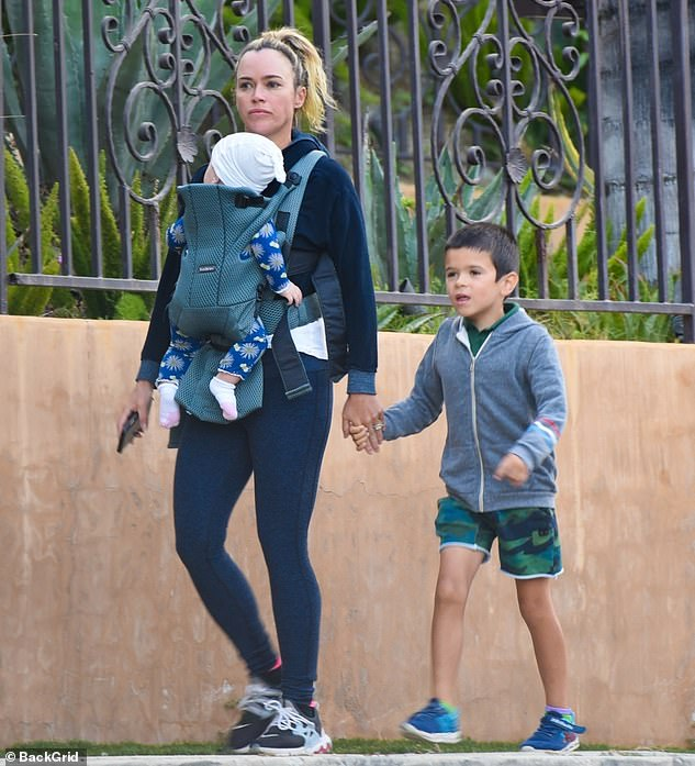 Strolling: Teddi Mellencamp enjoyed some quality time with her two of her children, following the explosive reunion of The Real Housewives of Beverly Hills on Bravo last night