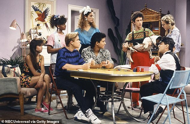 Walk down memory lane: Gosselaar and his co-host are watching each SBTB episode in their entirety and critiquing them storyline and performances; the cast which also included Tiffani Thiessen, Lark Vorhees, Elizabeth Berkley, Mario Lopez, Dustin Diamond and Tori Spelling