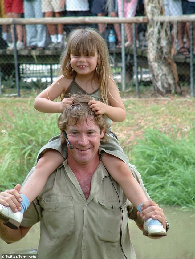 Tragic: Steve, known to millions around the world as 'The Crocodile Hunter', died in September 2006 at the age of 44 after being pierced in the chest by a stingray barb while filming a wildlife documentary in Queensland.Bindi was just eight years old when her father was killed