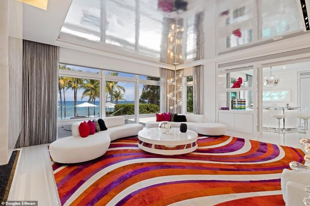 Florida estate: The flamboyant property boasts bold and colorful interior deign choices as well as stunning ocean views