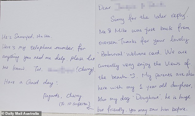 """'Me & Mike was just back from oversea,' Cherry Gu wrote to the couple's neighbours. 'Thanks for your lovely """"Balmoral"""" welcome card.' The neighbours had no more contact in three years"""