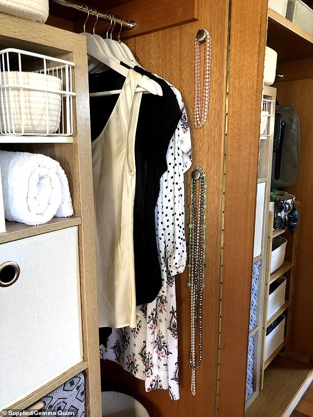 'When organising I love to think outside the square! One of my favourite organisational hacks for a wardrobe makeover is using door knobs and baskets on the back of the doors,' she said