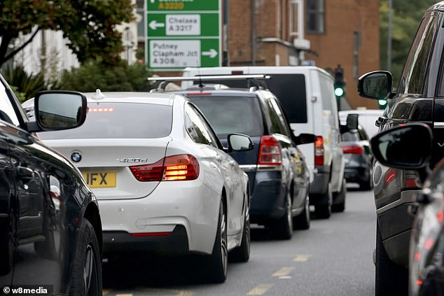 Cars queue in London this week as the capital's motorists battle with the road lane closures
