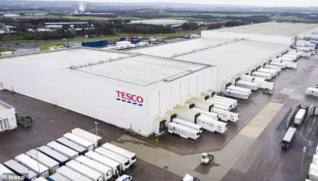 Several Tesco employees have tested positive for the coronavirus at a large distribution center where 1,800 employees supply 318 stores.  Pictured: Livingston Distribution Center