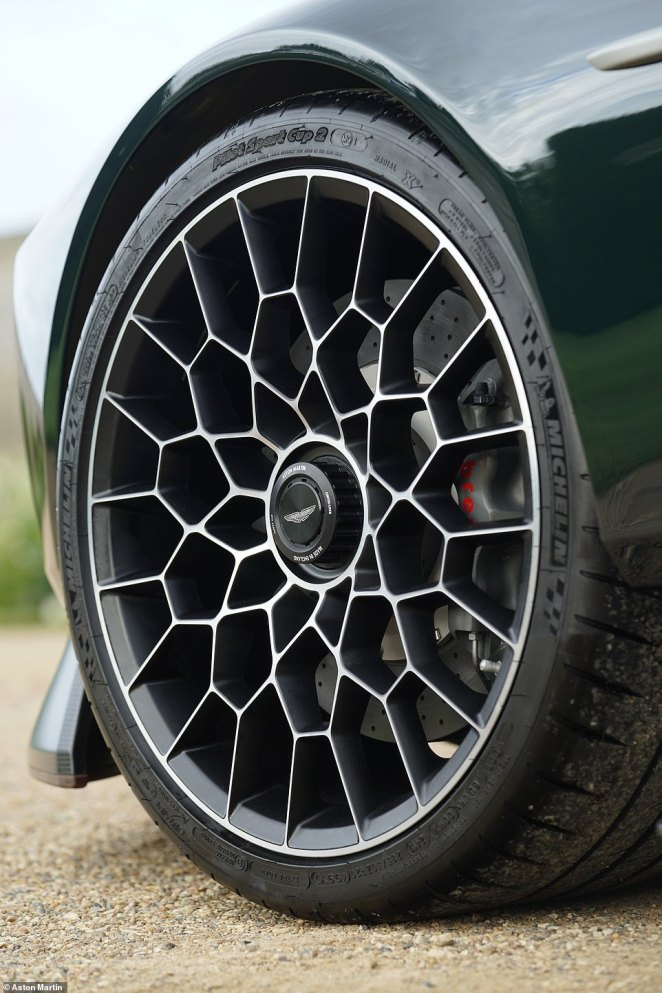The carbon-ceramic Brembo brake discs, incredible - web-like - wheels seen here are also modified versions of part fitted to the Vulcan