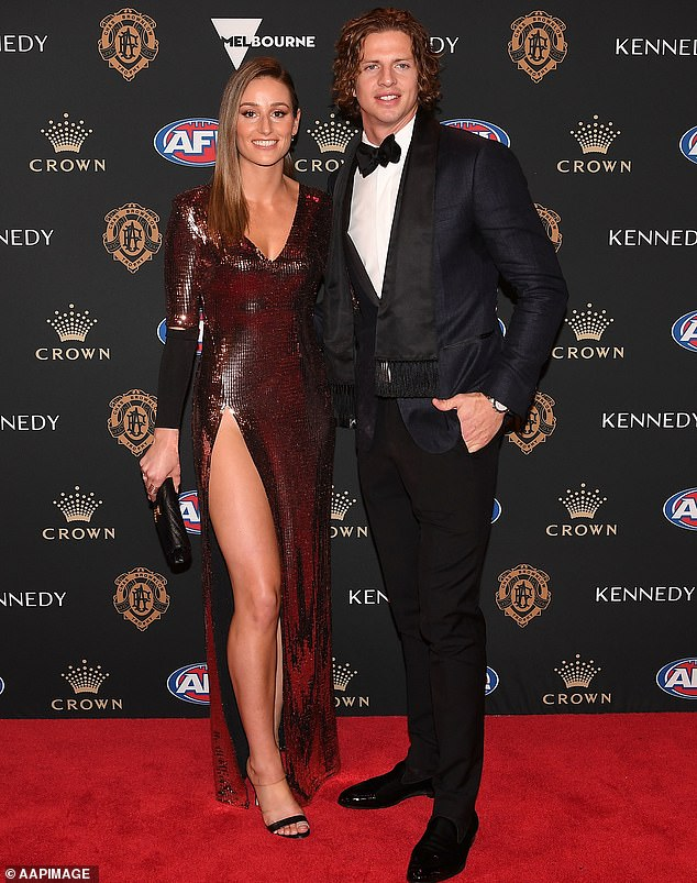 Nat Fyfe of the Fremantle Dockers and his partner Eleanor Brayshaw arrive at the 2019 Brownlow Medal ceremony.Only players who are no longer competing in the season will be allowed to attend this year's ceremony