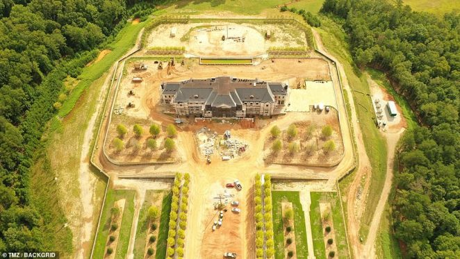 The 35,000 square foot estate is being built on1,200 acres of land near Perry's studio in Georgia