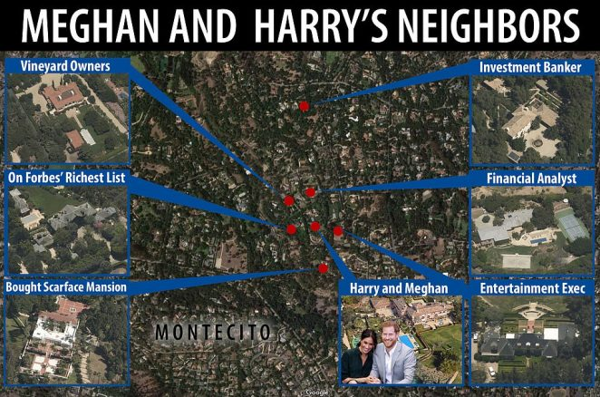 Meet Prince Harry and Meghan Markle's new neighbors: the billionaire behind an online university, vineyard owners, finance executives, and a Houston businessman who bought the Scarface mansion as a winter getaway