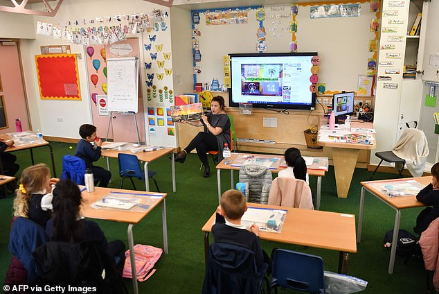 Pictured: A teacher talks to her year two pupils during their first day of school after the summer break at St Luke's Church of England Primary School in East London on September 3