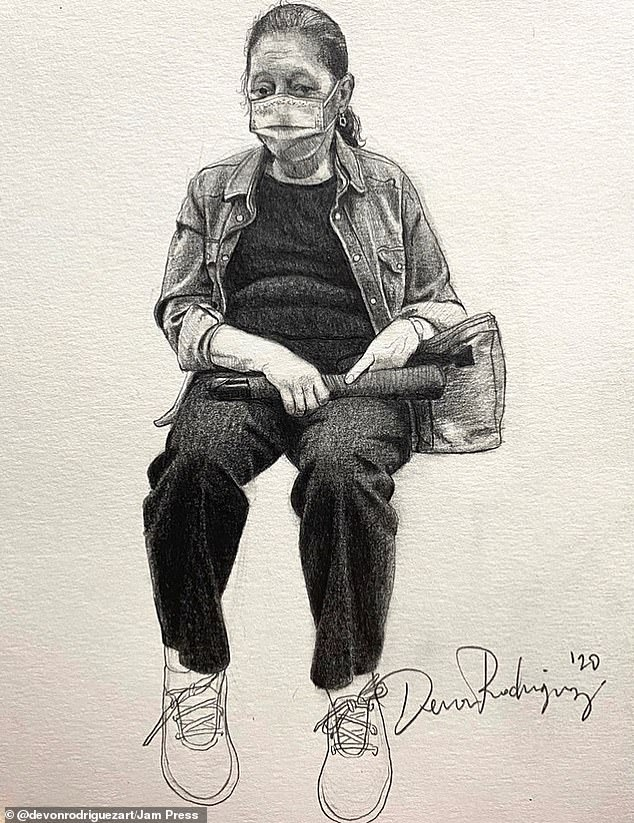 Amazing: A New York City artist is documenting the coronavirus pandemic by sketching people wearing masks on the subway
