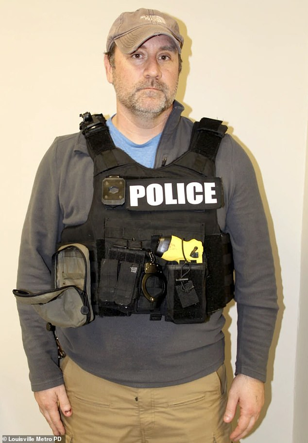 Another officer, Myles Cosgrove, can be seen in the photos wearing a body camera holder