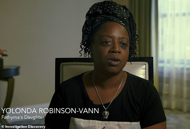 In a new documentary, Fathyma's daughter, Yolonda Robinson-Vann, who became an orphan in 1991 following her death, recalled having a chilling premonition after meeting Jablonski with her mother for the first time