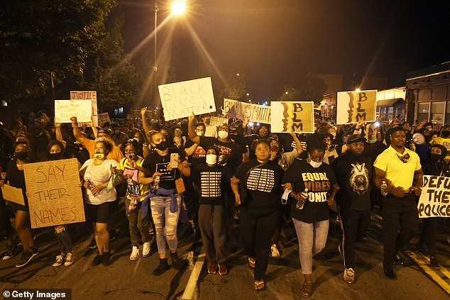 Demonstrators in Rochester marched on Thursday night in anger at Prude's death