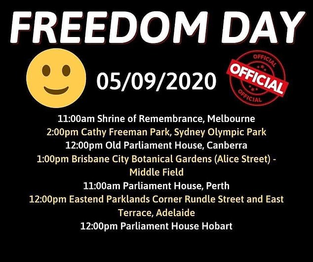 The Freedom Day rally was expected to be held at Melbourne's Shrine of Remembrance on Saturday