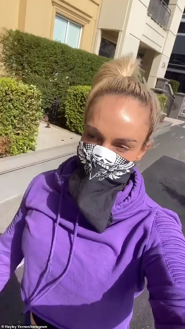 Exercise:According to posts on her Instagram account, the 33-year-old was out getting her daily exercise when she decided to join the protest