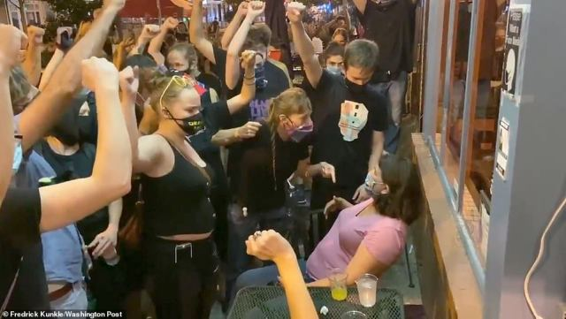 Another woman who was the focus of a viral video when she was surrounded by Black Lives Matter protesters while dining out has condemned their 'bullying' tactics and admitted that she 'felt fear', but insisted it has not affected her support for the movement