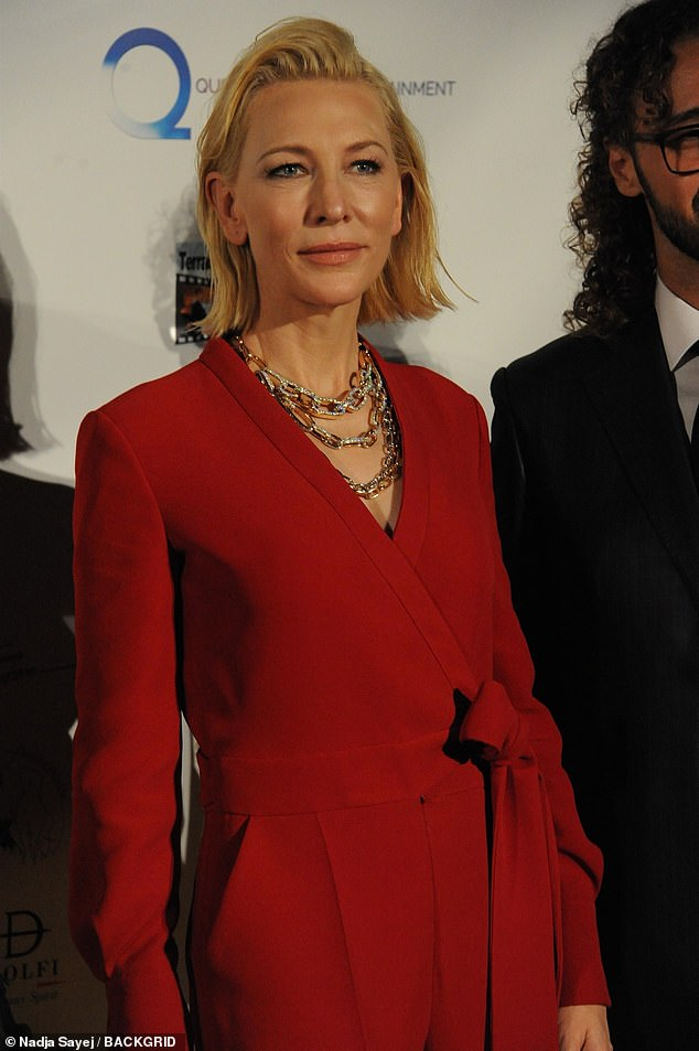 Glamor: The Carol star showed off her sense of androgynous chic in the ensemble which was cinched at her waist with a bow