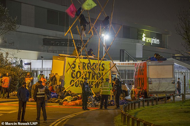 More than a hundred demonstrators blocked access to Newsprinters printing works in Broxbourne, Hertfordshire, (pictured) and Knowsley, near Liverpool, last night