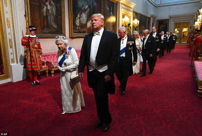 Mr Trump had met the Queen for tea at Windsor Castle a year before his state visit in 2019 and reportedly wanted to spend time with the Queen at Buckingham Palace on his trip (above)