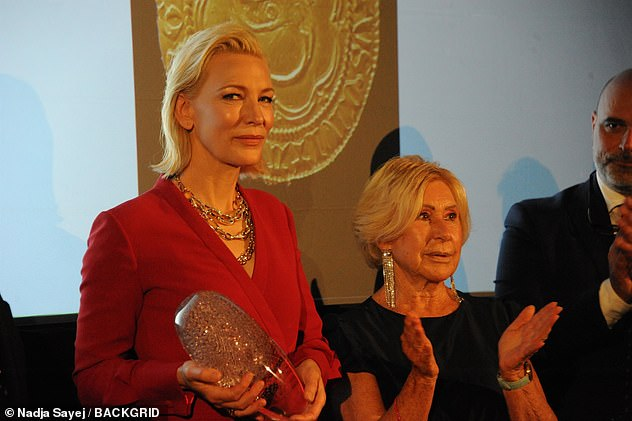 Well-deserved: Cate received a leadership award at the event