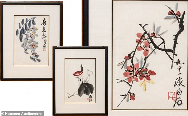 Three watercolour paintings which were found in a home in Barlaston, Staffordshire, are worth £20,000 after they were found to be the work of renowned Chinese painter Qi Baishi