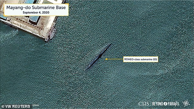 A handout photo shows a close-up view of a ROMEO-class submarine (SS) anchored within the southern section of the bay of the Mayang-do Submarine Base in Mayang-do, North Korea, issued yesterday