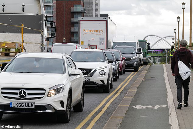 Long queues across Wandsworth Bridge Road were seen yesterday afternoon as the area grinds to a halt due to the closure of two bridges and the scheme
