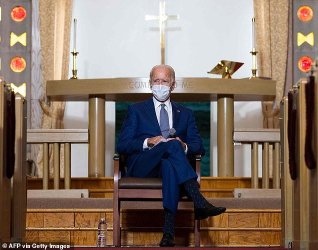 Biden, picturedat Grace Lutheran Church in Kenosha Wisconsin earlier this week, is a practicing Catholic